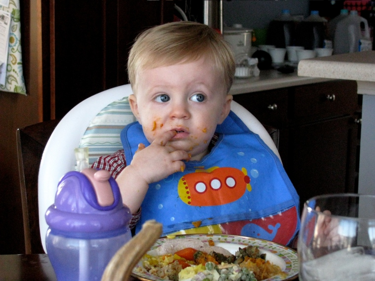 We let Carter have a free-for-all with the food.  I don't know if he actually got much into his mouth.