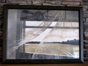 """Wind from the Sea"" by Andrew Wyeth.  This was a surprising Christmas gift from my younger brother.  He went to the Wyeth High Museum in Atlanta and bought this print because it reminded him of the view of the area around the house we grew up in."
