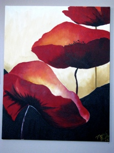 This one is a really large painting of 3 poppies on the wall of my bedroom.