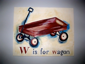 The red wagon lives in Carter's room.  I like the cartoony, kidishness of it.